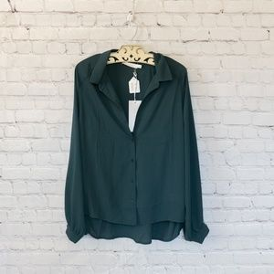 Lush Green Button Down Collared Blouse